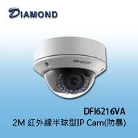 【福利品】DFI6216VA 2M H.264 紅外線半球型網路攝影機(防暴)