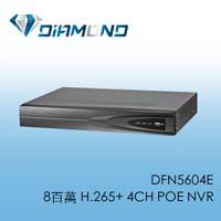 DFN5604E 8百萬 H.265+ 4CH POE NVR