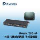 SP016N,SP016P 16路1U機架式網路 / PoE避雷器