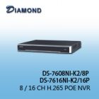 DS-7608NI-K2/8P / DS-7616NI-K2/16P 8 / 16 CH H.265 POE NVR