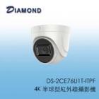 DS-2CE76U1T-ITPF 4K 半球型紅外線攝影機