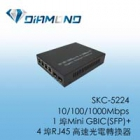 SKC-5224 10/100/1000Mbps  1 埠Mini GBIC(SFP)+ 4 埠RJ45 高速光電轉換器