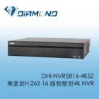 DHI-NVR5816-4KS2 大華專業型H.265 16 路智慧型4K NVR