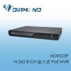 ND9323P H.265 8-CH 嵌入式 PoE NVR
