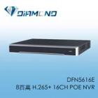 DFN5616E 8百萬 H.265+ 16CH POE NVR